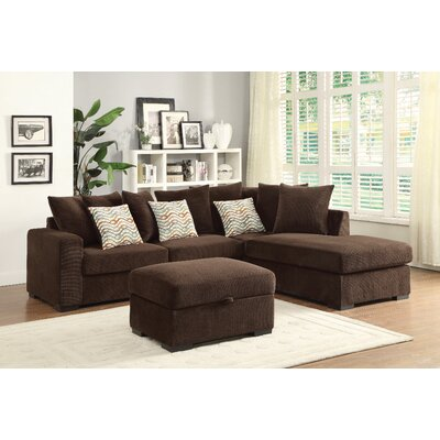 Albin Chaise Reversible Sectional Upholstery: Brown