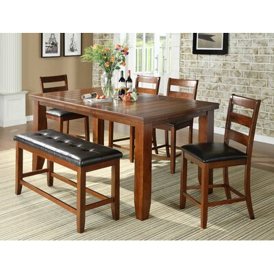 Bridlewood 6 Piece Counter Height Dining Set Finish: Brown