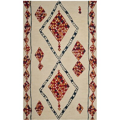 Aldwich Hand-Tufted Beige/Red Area Rug Rug Size: Rectangle 5 x 8