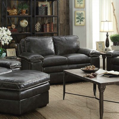 Ripon Leather Loveseat Upholstery: Charcoal