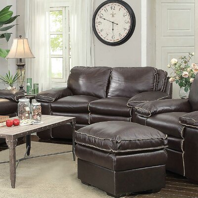 Ripon Leather Loveseat Upholstery: Cappuccino