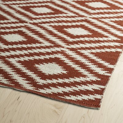 Greenfield Brick/Cream Indoor/Outdoor Area Rug Rug Size: Runner 2 x 6