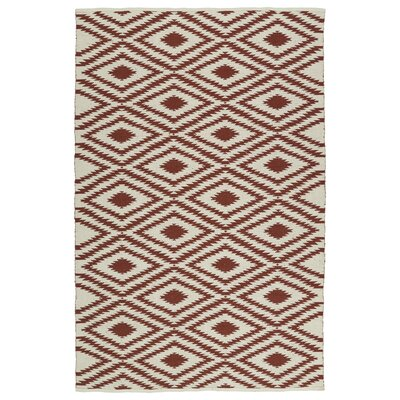 Greenfield Cream/Brick Indoor/Outdoor Area Rug Rug Size: Runner 2 x 6