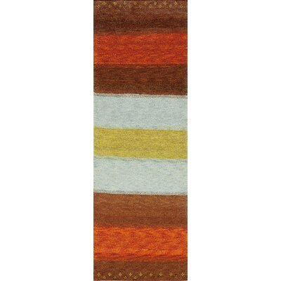 Havsa Desert Gabbeh Hand-Knotted Brown/Orange/Gold Area Rug Rug Size: Runner 26 x 8
