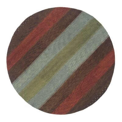 Desert Gabbeh Hand-Knotted Brown/Orange/Gold Area Rug Rug Size: Round 8