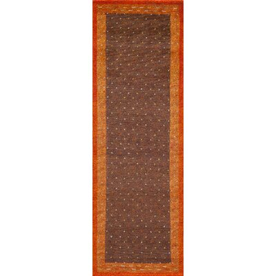 Havsa Desert Gabbeh Hand-Knotted Brown Area Rug Rug Size: Runner 26 x 8