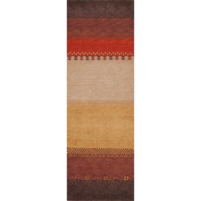 Havsa Desert Gabbeh Hand-Knotted Red/Yellow Area Rug Rug Size: Runner 26 x 8