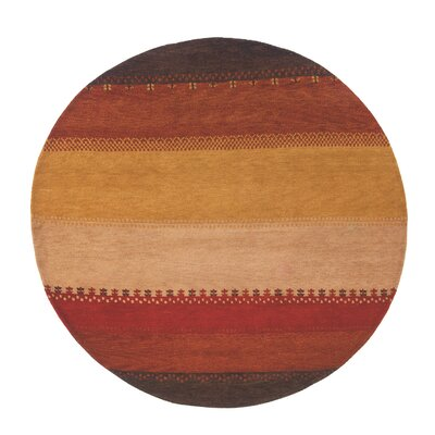 Desert Gabbeh Hand-Knotted Red/Yellow Area Rug Rug Size: Round 8