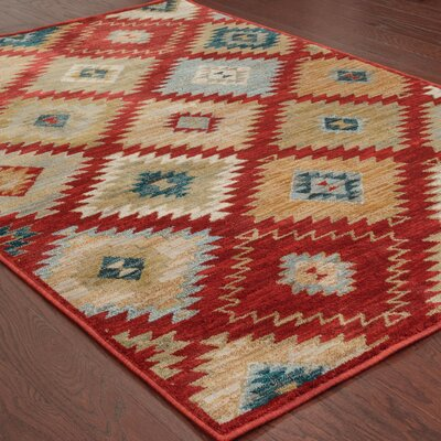 Honaz Red Area Rug Rug Size: Rectangle 53 x 76