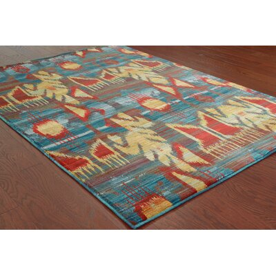 Honaz Tribal Grey/Blue Area Rug Rug Size: 67 x 96