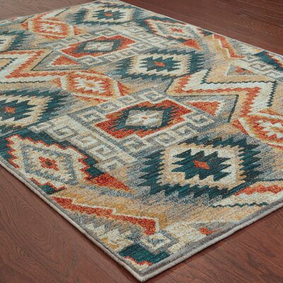 Honaz Blue Area Rug Rug Size: Rectangle 53 x 76