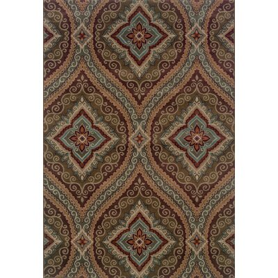 Horasan Green/Plum Area Rug Rug Size: 67 x 96