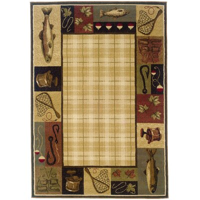 Johnson Village Beige/Black Area Rug Rug Size: 7'8