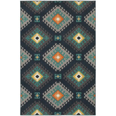 Indian Hills Navy/Grey Indoor/Outdoor Area Rug Rug Size: 53 x 76