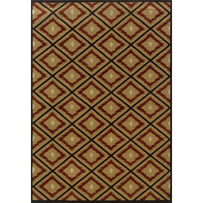 Johnson Village Gold/Red Area Rug Rug Size: Round 78