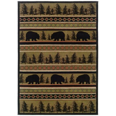 Johnson Village Black/Beige Area Rug Rug Size: 53 x 76