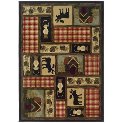Johnson Village Brown/Red Area Rug Rug Size: Rectangle 53 x 76