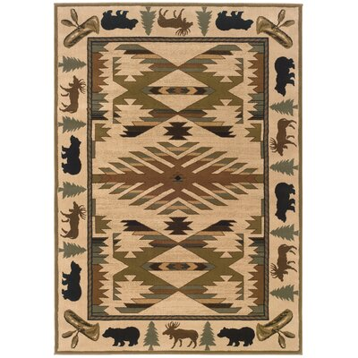 Johnson Village Ivory/Green Area Rug Rug Size: 53 x 76