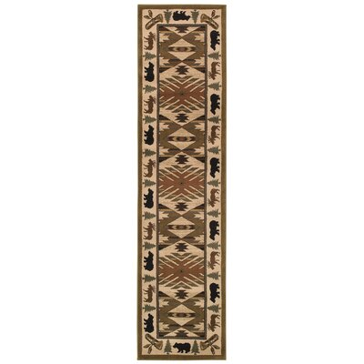 Johnson Village Ivory/Green Area Rug Rug Size: Runner 110 x 76