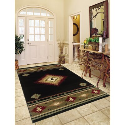 Johnson Village Black/Green Area Rug Rug Size: 53 x 76