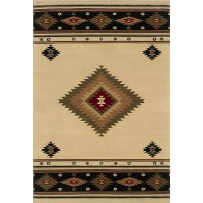 Johnson Village Beige/Green Area Rug Rug Size: 53 x 76