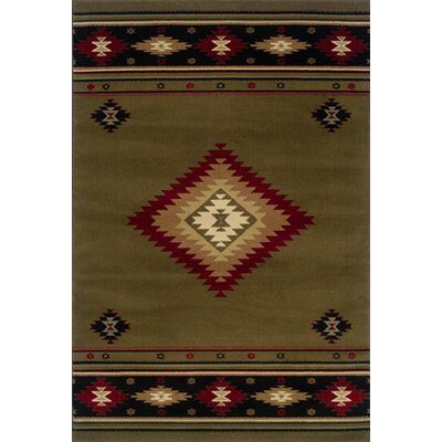Johnson Village Green/Red Area Rug Rug Size: 67 x 96