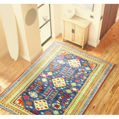 Martinez Hand-Knotted Navy Area Rug Rug Size: 76 x 96