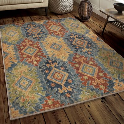Marvin Green/Blue/Red Area Rug Rug Size: 53 x 76