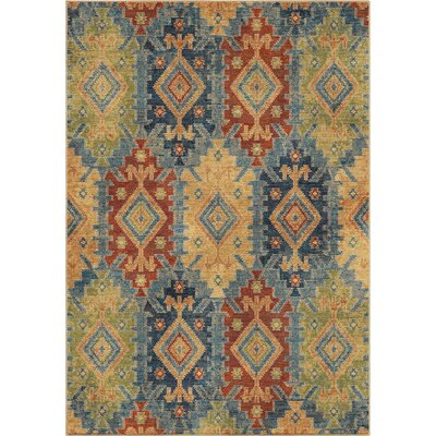 Marvin Green/Blue/Red Area Rug Rug Size: 710 x 1010