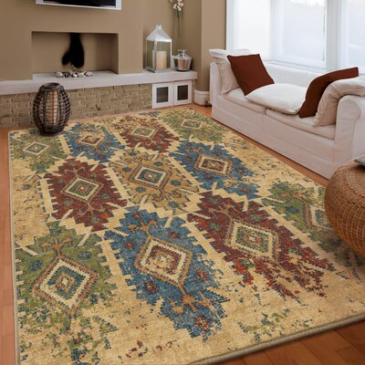 Marvin Beige/Green Area Rug Rug Size: 53 x 76