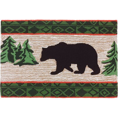 Marysville Bear In Pine Forest Light Brown Area Rug