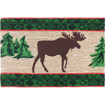 Marysville Moose in Pine Forest Light Brown Area Rug