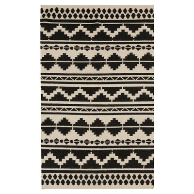 Carrizales Hand-Woven Wool Black/Grey Ikat Area Rug Rug Size: Rectangle 8 x 11