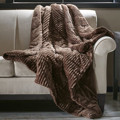 Springhill Corduroy Plush Down Alternative Throw Color: Brown
