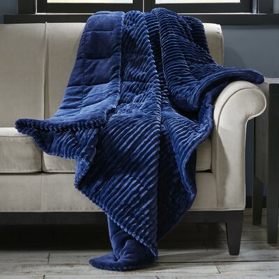Wheat Ridge Corduroy Plush Down Alternative Throw Color: Navy
