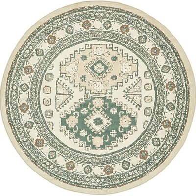 Giovanni Ivory Area Rug Rug Size: Round 8