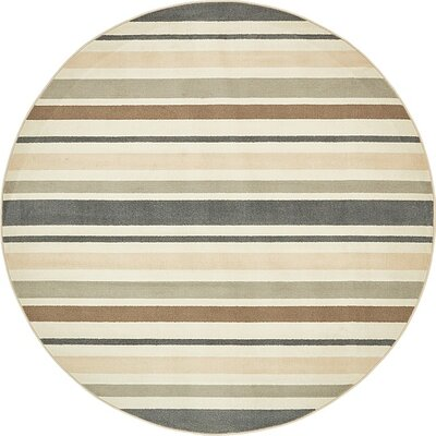 Giovanni Beige/Brown Area Rug Rug Size: Round 8