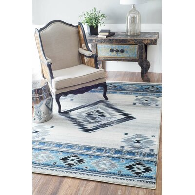 Rosebud Aqua Area Rug Rug Size: Rectangle 8 x 10