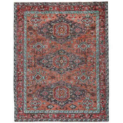 Marcus Hand-Tufted Rust/Aqua Area Rug Rug Size: Rectangle 4 x 6