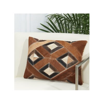 Arcata Natural Leather Hide Throw Pillow