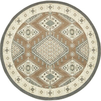 Giovanni Brown Area Rug Rug Size: Round 8