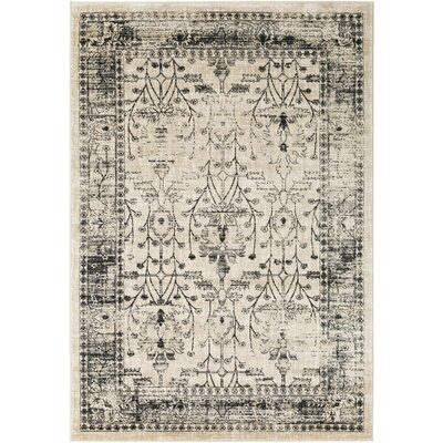 Pruitt Black/Medium Gray Area Rug Rug Size: 53 x 76