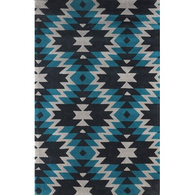 Alverstone Hand-Tufted Teal/Black Area Rug Rug Size: Rectangle 4 x 6