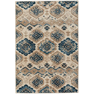 Dotsero Taupe/Blue Indoor/Outdoor Area Rug Rug Size: 3'10