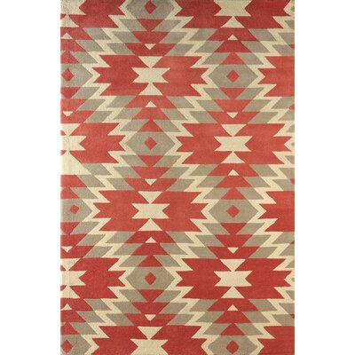 Alverstone Hand-Tufted Ivory/Orange Area Rug Rug Size: Rectangle 5 x 8