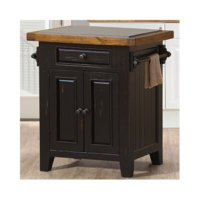 McAlester Kitchen Island with Granite Top Base Finish: Black