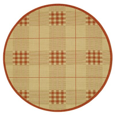 Trishelle Natural/Terra Outdoor Rug Rug Size: Round 53