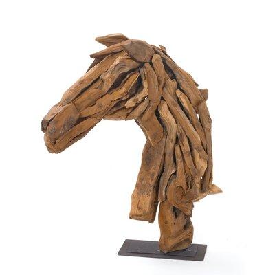 Loon Peak Natural Wood Horse Bust