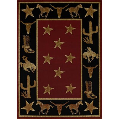 Durango Cowboy Up Midnight Black/Brown Area Rug Rug Size: 5 x 8