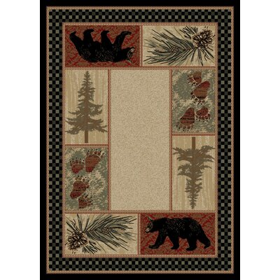 Windsor Lane Beige/Black Area Rug Rug Size: 4 x 6